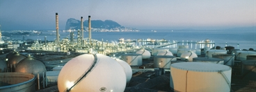Total view of CEPSA oil (TOTAL Group) refinery in Spain. Inert gas safety system. San Roque/Spain (Gibraltar) using of CLAUS plants. Sunset