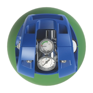 One portable cylinder with an integrated pressure regulator in top view, on white background